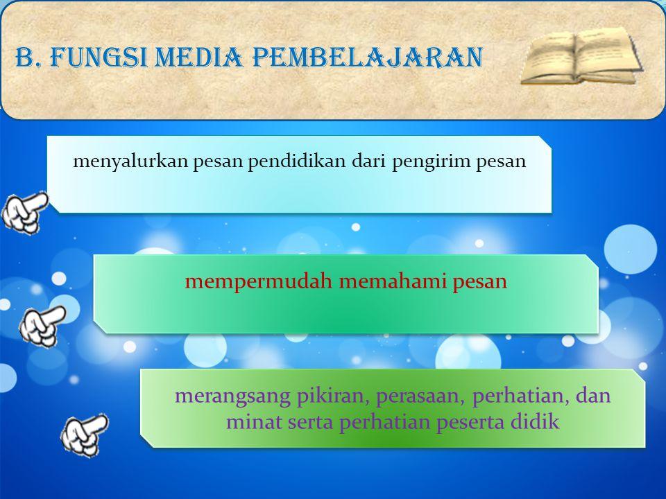 Secara umum media pengajaran mempunyai fungsi sebagai berikut: B.
