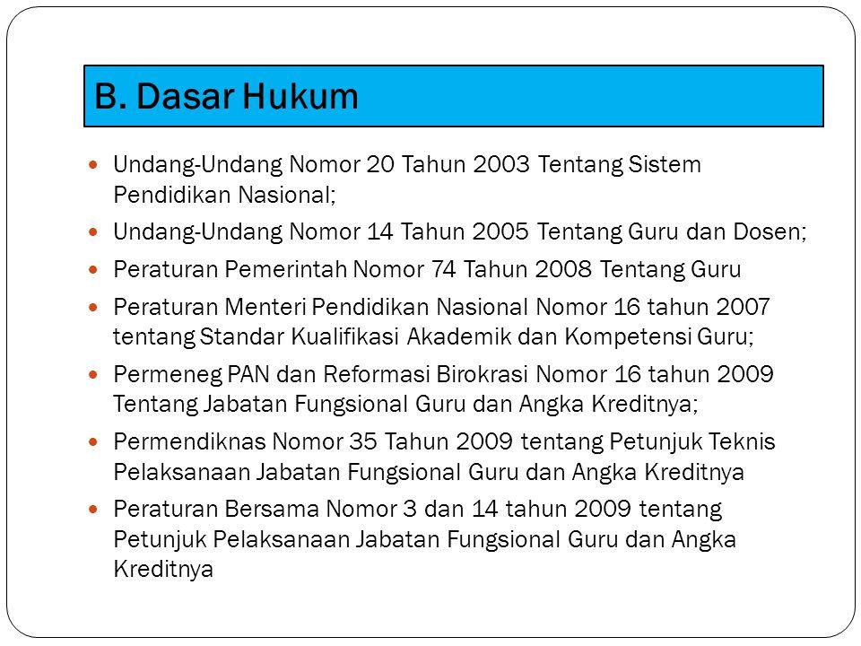 B. Dasar Hukum Undang-Undang Nomor 20 Tahun 2003 Tentang Sistem Pendidikan Nasional; Undang-Undang Nomor 14 Tahun 2005 Tentang Guru dan Dosen; Peratur