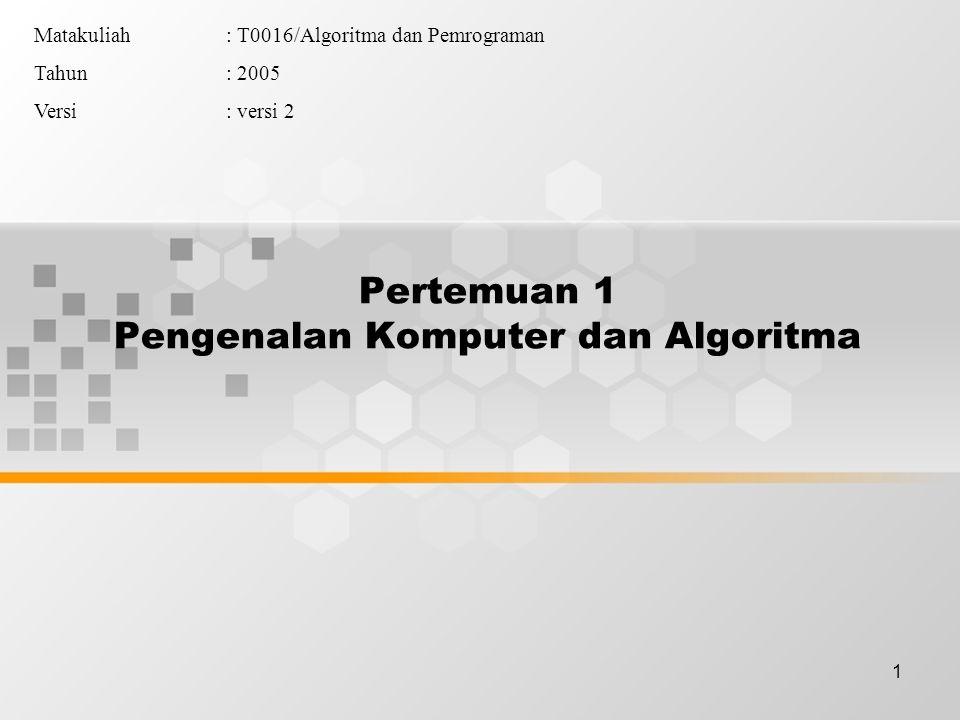 1 Pertemuan 1 Pengenalan Komputer dan Algoritma Matakuliah: T0016/Algoritma dan Pemrograman Tahun: 2005 Versi: versi 2