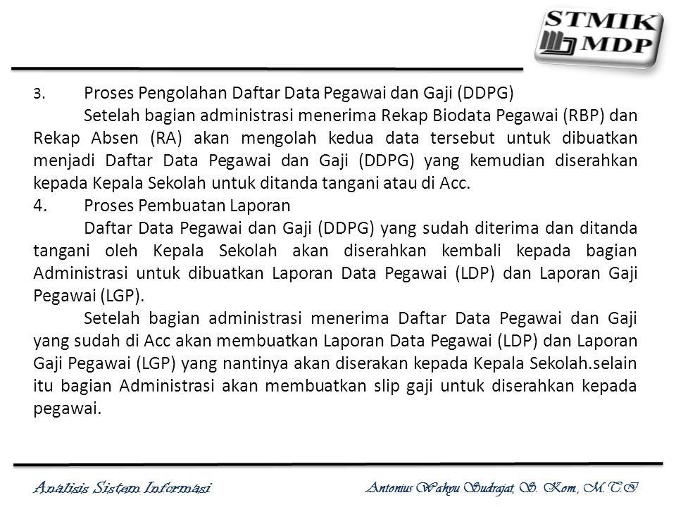 Analisis Sistem Informasi Antonius Wahyu Sudrajat, S. Kom., M.T.I 3. Proses Pengolahan Daftar Data Pegawai dan Gaji (DDPG) Setelah bagian administrasi