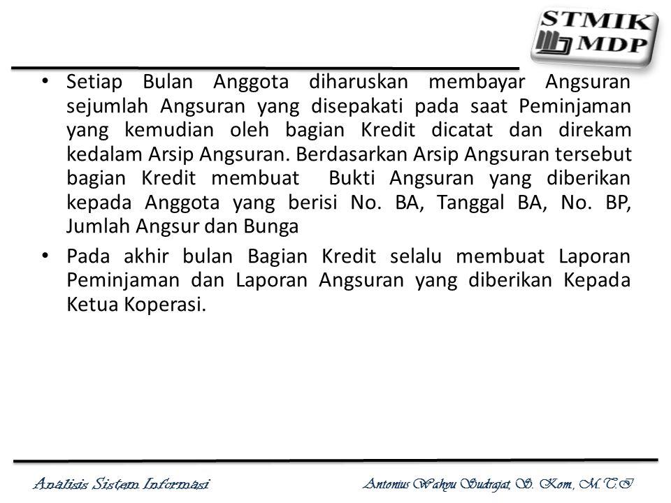 Analisis Sistem Informasi Antonius Wahyu Sudrajat, S. Kom., M.T.I Setiap Bulan Anggota diharuskan membayar Angsuran sejumlah Angsuran yang disepakati