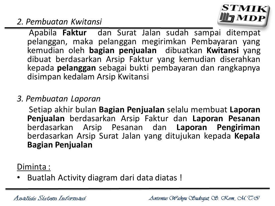 Analisis Sistem Informasi Antonius Wahyu Sudrajat, S. Kom., M.T.I 2. Pembuatan Kwitansi Apabila Faktur dan Surat Jalan sudah sampai ditempat pelanggan