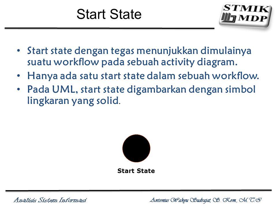 Analisis Sistem Informasi Antonius Wahyu Sudrajat, S. Kom., M.T.I Start State Start state dengan tegas menunjukkan dimulainya suatu workflow pada sebu