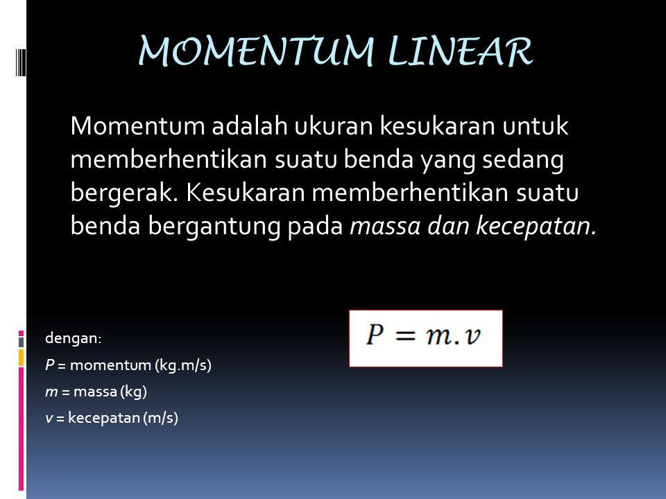 MOMENTUM LINEAR Momentum adalah ukuran kesukaran untuk memberhentikan suatu benda yang sedang bergerak. Kesukaran memberhentikan suatu benda bergantun