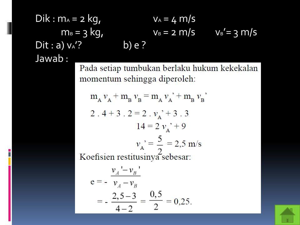 Dik : m A = 2 kg,v A = 4 m/s m B = 3 kg, v B = 2 m/s v B '= 3 m/s Dit : a) v A '?b) e ? Jawab :