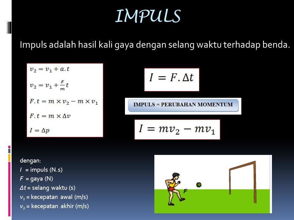 IMPULS Impuls adalah hasil kali gaya dengan selang waktu terhadap benda. dengan: I = impuls (N.s) F = gaya (N) Δt = selang waktu (s) v 1 = kecepatan a
