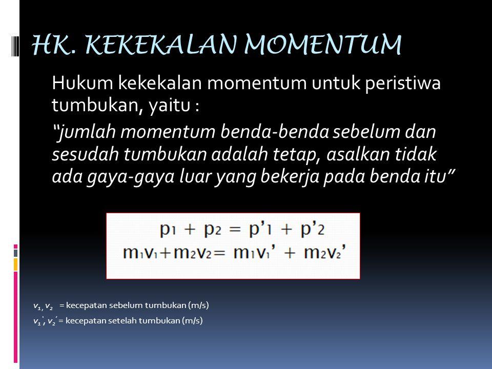 """HK. KEKEKALAN MOMENTUM Hukum kekekalan momentum untuk peristiwa tumbukan, yaitu : """"jumlah momentum benda-benda sebelum dan sesudah tumbukan adalah tet"""