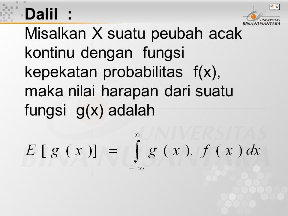 Dalil : Misalkan X suatu peubah acak kontinu dengan fungsi kepekatan probabilitas f(x), maka nilai harapan dari suatu fungsi g(x) adalah