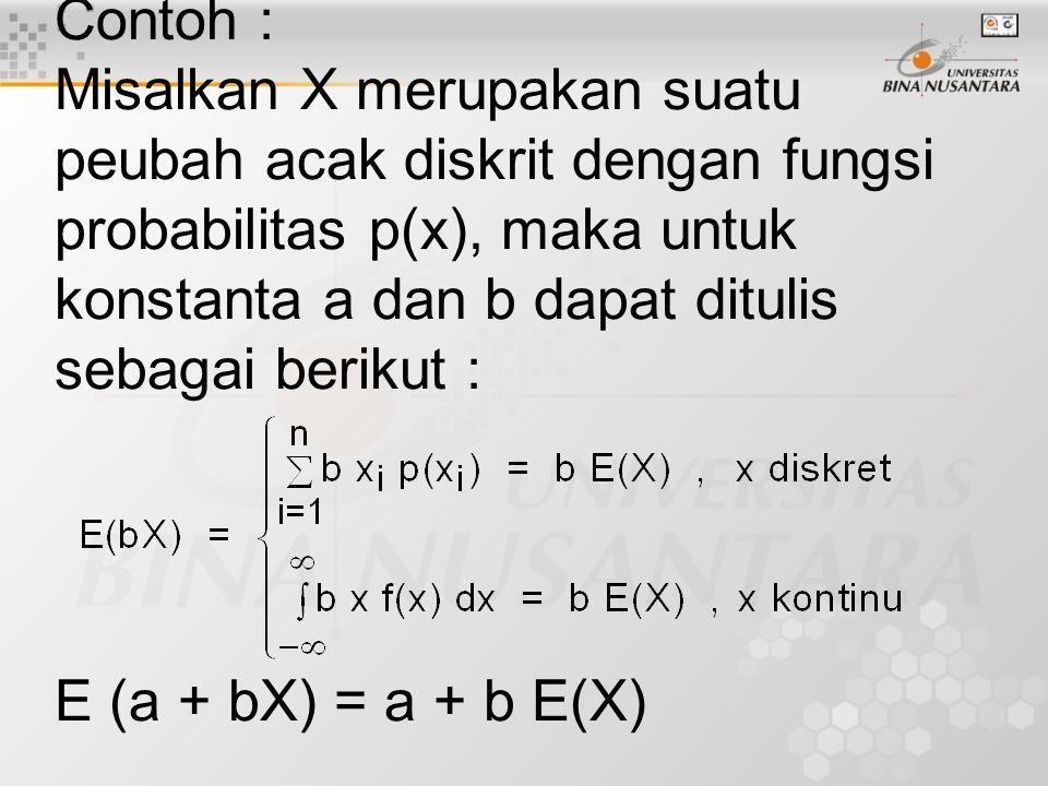Contoh : Misalkan X merupakan suatu peubah acak diskrit dengan fungsi probabilitas p(x), maka untuk konstanta a dan b dapat ditulis sebagai berikut : E (a + bX) = a + b E(X)
