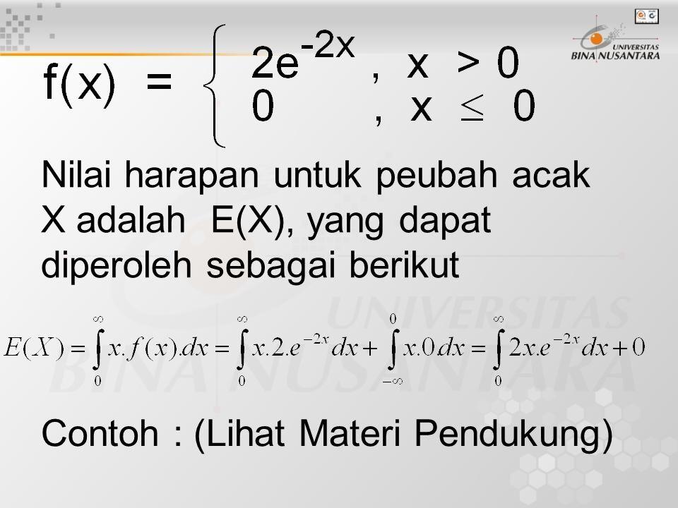 Nilai harapan untuk peubah acak X adalah E(X), yang dapat diperoleh sebagai berikut Contoh : (Lihat Materi Pendukung)