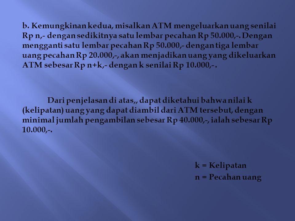 b. Kemungkinan kedua, misalkan ATM mengeluarkan uang senilai Rp n,- dengan sedikitnya satu lembar pecahan Rp 50.000,-. Dengan mengganti satu lembar pe