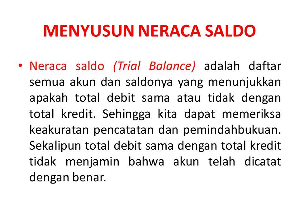 MENYUSUN NERACA SALDO Neraca saldo (Trial Balance) adalah daftar semua akun dan saldonya yang menunjukkan apakah total debit sama atau tidak dengan total kredit.