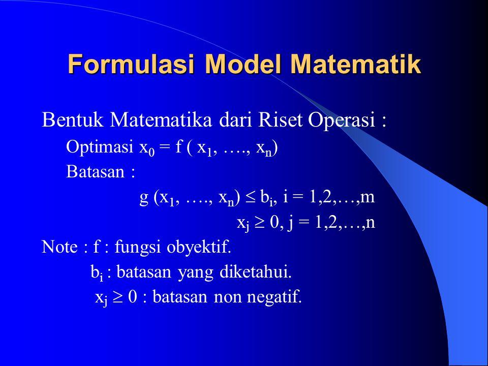 Formulasi Model Matematik Bentuk Matematika dari Riset Operasi : Optimasix 0 = f ( x 1, …., x n ) Batasan : g (x 1, …., x n )  b i, i = 1,2,…,m x j 