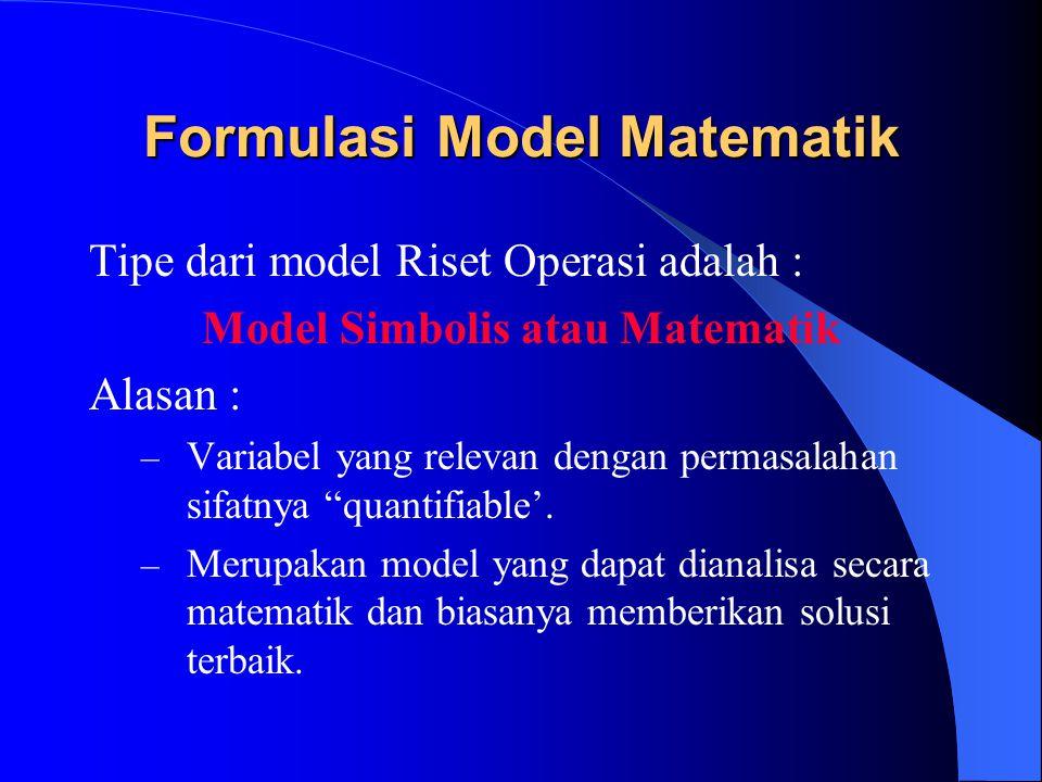 Formulasi Model Matematik Dasar model matematik terdiri dari 3 elemen dasar, yaitu : 1.