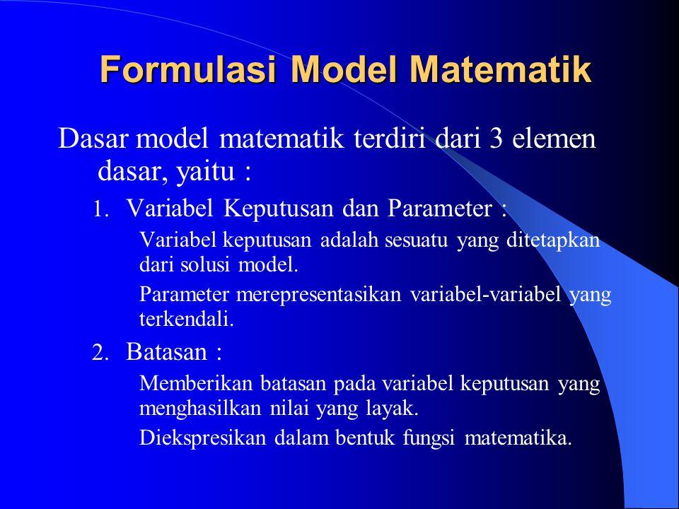 Formulasi Model Matematik Dasar model matematik terdiri dari 3 elemen dasar, yaitu : 1. Variabel Keputusan dan Parameter : Variabel keputusan adalah s