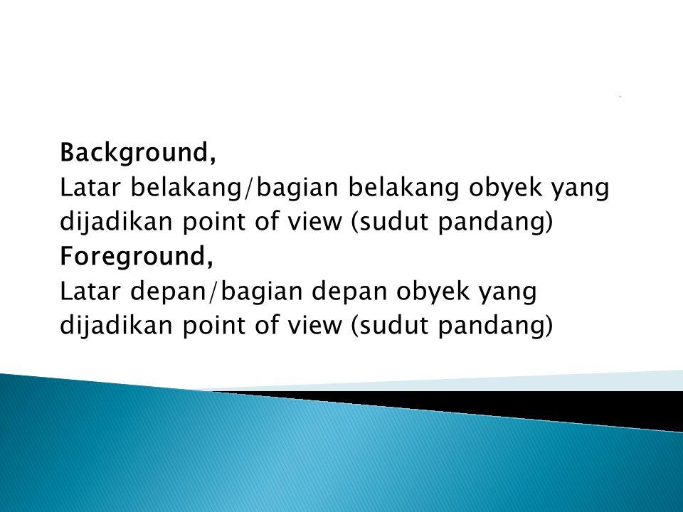 Background, Latar belakang/bagian belakang obyek yang dijadikan point of view (sudut pandang) Foreground, Latar depan/bagian depan obyek yang dijadikan point of view (sudut pandang)