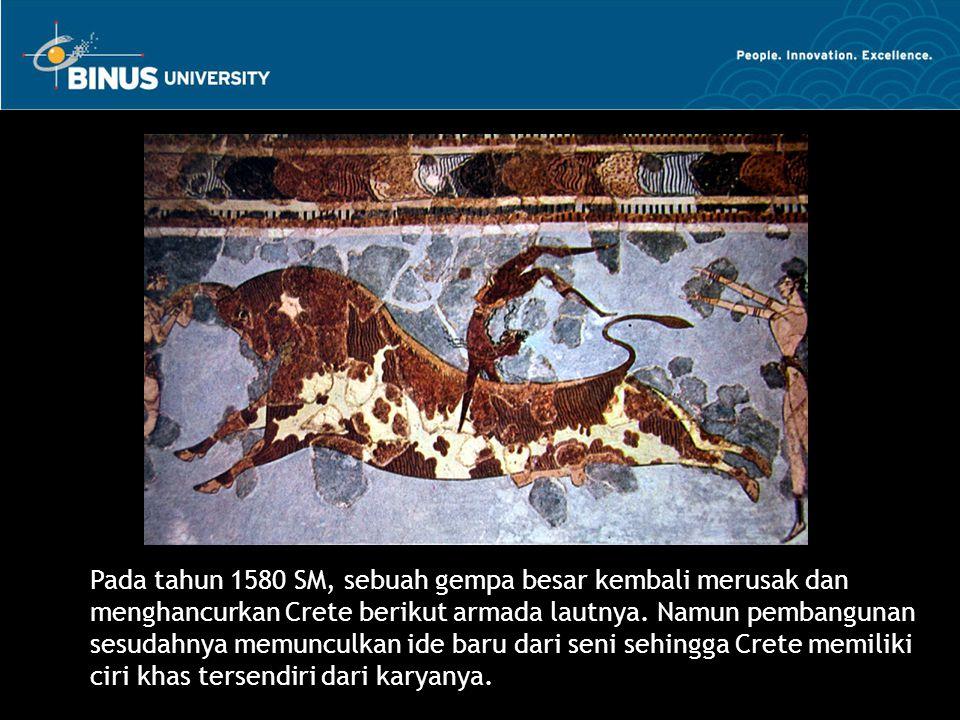 Pada tahun 1580 SM, sebuah gempa besar kembali merusak dan menghancurkan Crete berikut armada lautnya. Namun pembangunan sesudahnya memunculkan ide ba