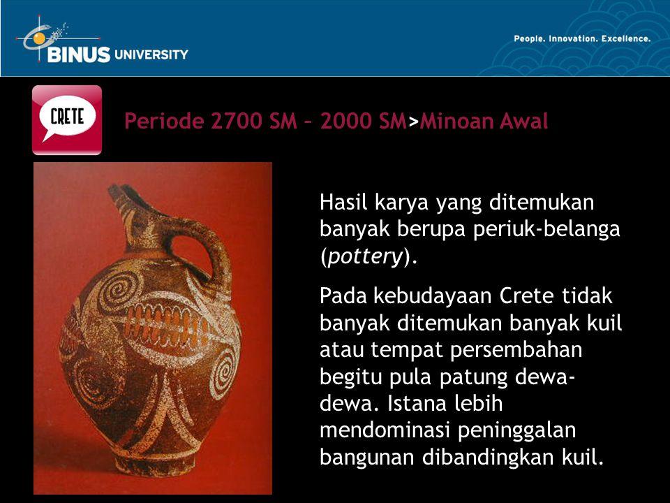 Hasil karya yang ditemukan banyak berupa periuk-belanga (pottery). Pada kebudayaan Crete tidak banyak ditemukan banyak kuil atau tempat persembahan be