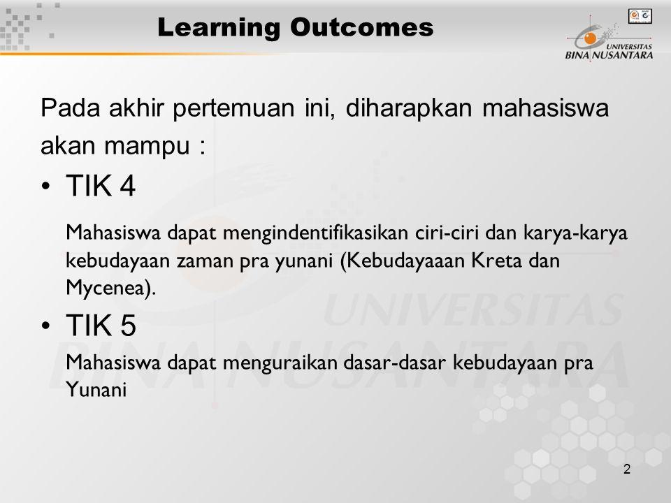 2 Learning Outcomes Pada akhir pertemuan ini, diharapkan mahasiswa akan mampu : TIK 4 Mahasiswa dapat mengindentifikasikan ciri-ciri dan karya-karya k
