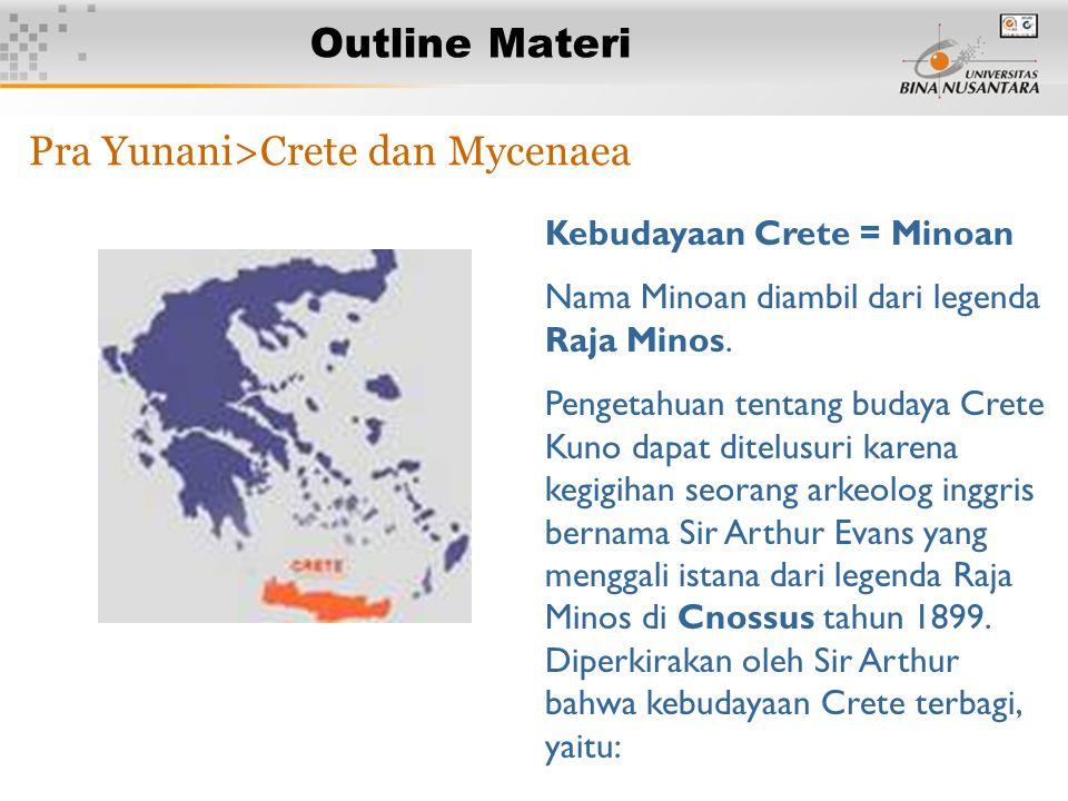 3 Outline Materi Pra Yunani>Crete dan Mycenaea Kebudayaan Crete = Minoan Nama Minoan diambil dari legenda Raja Minos. Pengetahuan tentang budaya Crete
