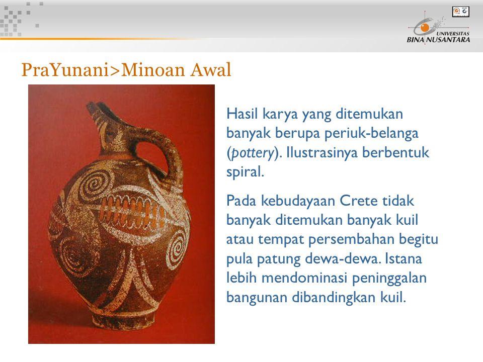 6 Hasil karya yang ditemukan banyak berupa periuk-belanga (pottery). Ilustrasinya berbentuk spiral. Pada kebudayaan Crete tidak banyak ditemukan banya