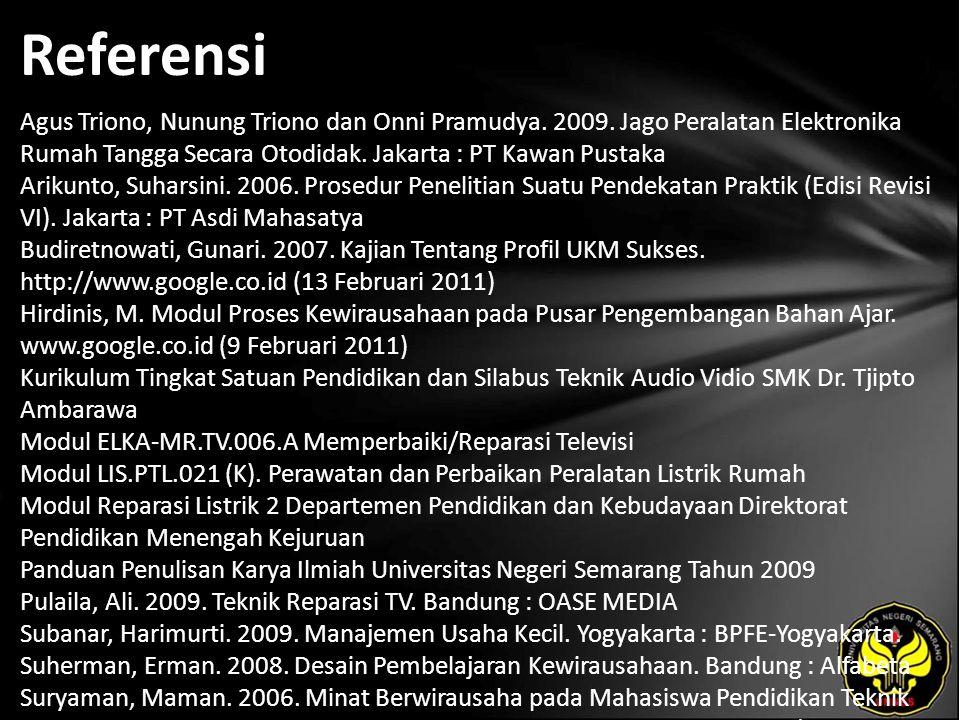 Referensi Agus Triono, Nunung Triono dan Onni Pramudya.