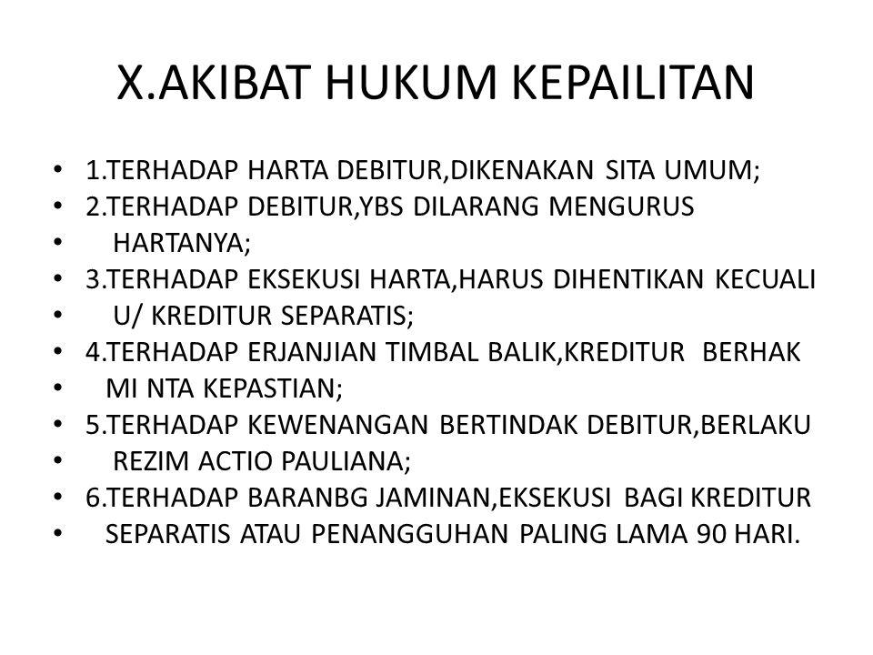 X.AKIBAT HUKUM KEPAILITAN 1.TERHADAP HARTA DEBITUR,DIKENAKAN SITA UMUM; 2.TERHADAP DEBITUR,YBS DILARANG MENGURUS HARTANYA; 3.TERHADAP EKSEKUSI HARTA,H