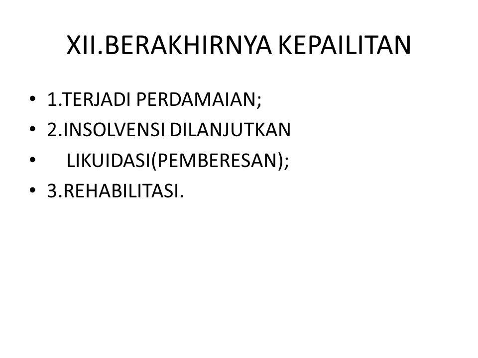 XII.BERAKHIRNYA KEPAILITAN 1.TERJADI PERDAMAIAN; 2.INSOLVENSI DILANJUTKAN LIKUIDASI(PEMBERESAN); 3.REHABILITASI.