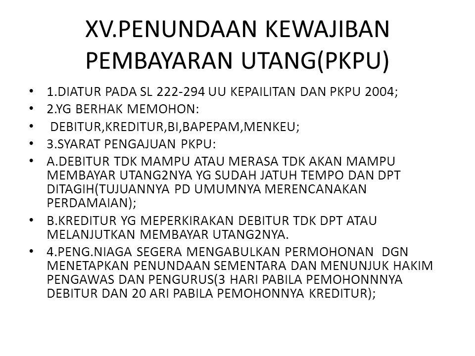 XV.PENUNDAAN KEWAJIBAN PEMBAYARAN UTANG(PKPU) 1.DIATUR PADA SL 222-294 UU KEPAILITAN DAN PKPU 2004; 2.YG BERHAK MEMOHON: DEBITUR,KREDITUR,BI,BAPEPAM,M