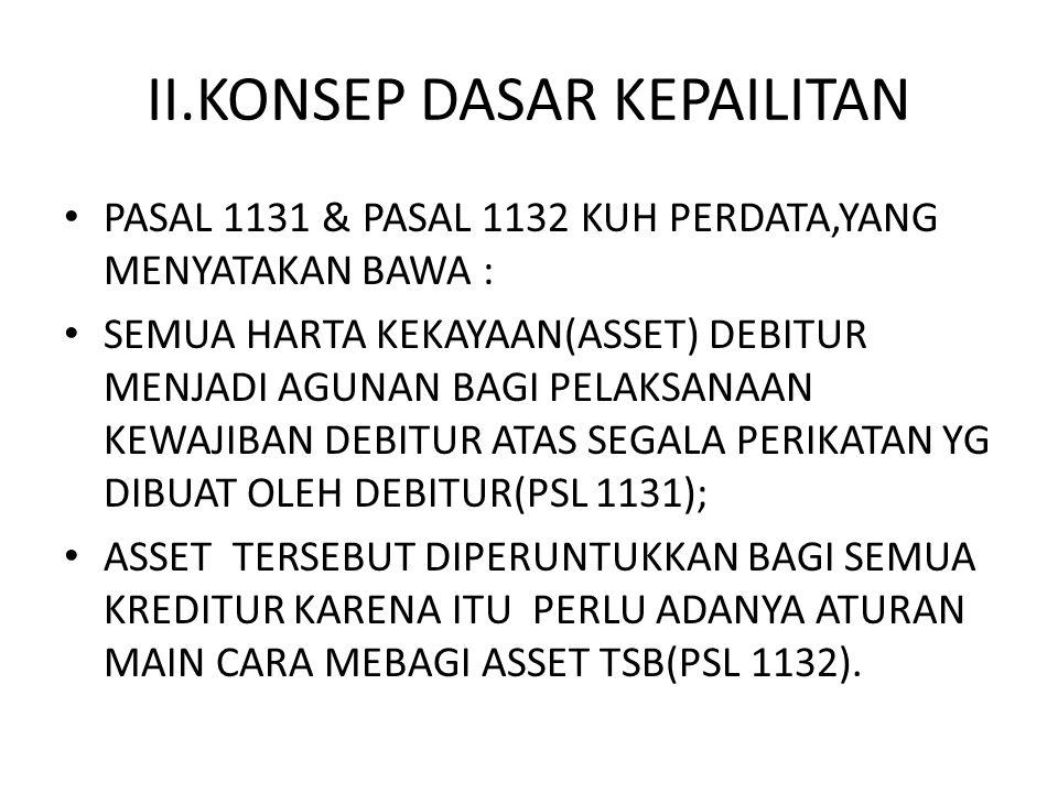 II.KONSEP DASAR KEPAILITAN PASAL 1131 & PASAL 1132 KUH PERDATA,YANG MENYATAKAN BAWA : SEMUA HARTA KEKAYAAN(ASSET) DEBITUR MENJADI AGUNAN BAGI PELAKSAN