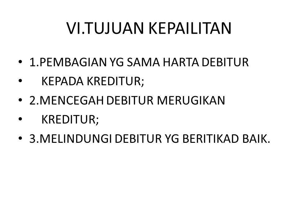 VII.YG DPT MENGAJUKAN KEPAILITAN 1.DEBITUR YBS; 2.KREDITUR; 3.KEJAKSAAN; 4.BANK INDONESIA; 5.BAPEPAM; 6.MENTERI KEUANGAN.