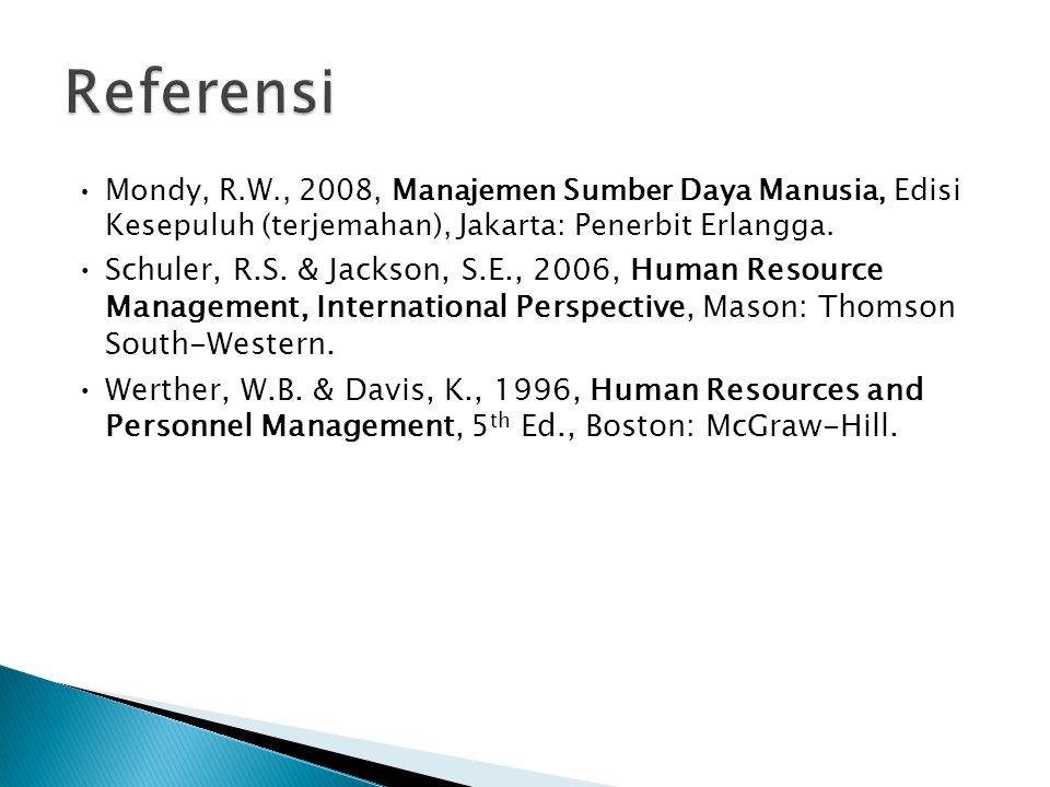 Mondy, R.W., 2008, Manajemen Sumber Daya Manusia, Edisi Kesepuluh (terjemahan), Jakarta: Penerbit Erlangga. Schuler, R.S. & Jackson, S.E., 2006, Human