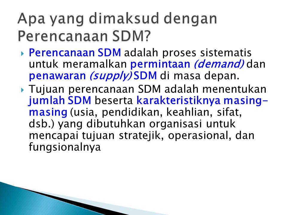  Perencanaan SDM adalah proses sistematis untuk meramalkan permintaan (demand) dan penawaran (supply) SDM di masa depan.  Tujuan perencanaan SDM ada