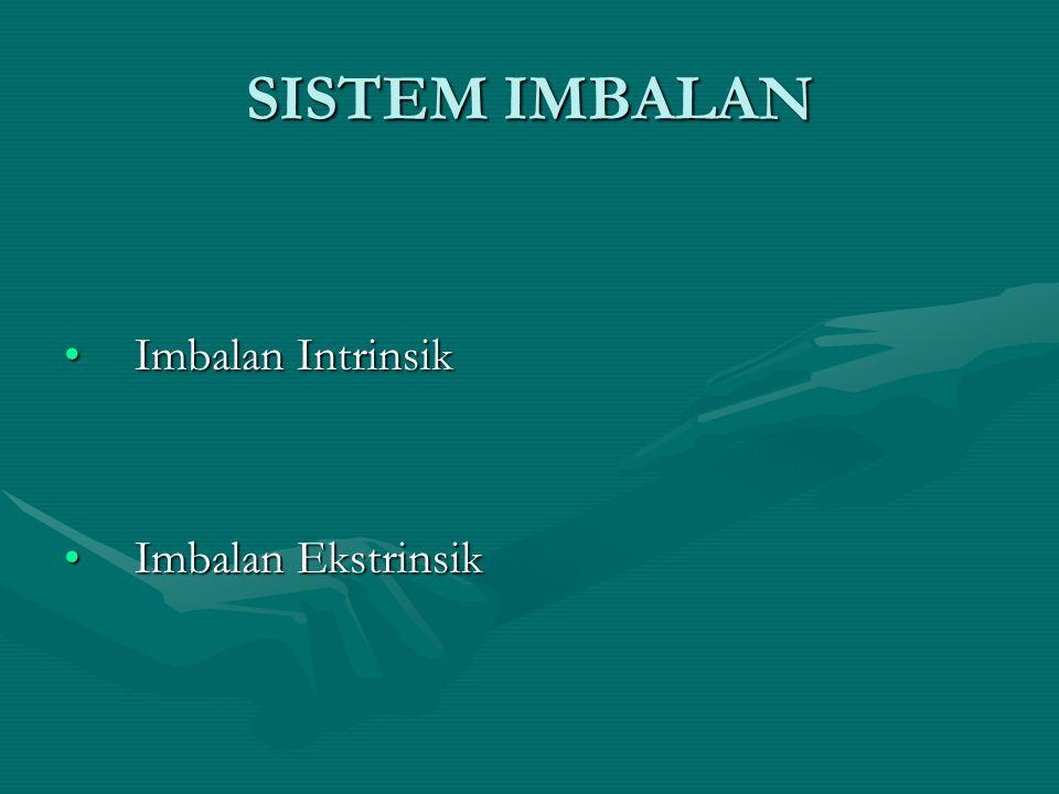 SISTEM IMBALAN Imbalan IntrinsikImbalan Intrinsik Imbalan EkstrinsikImbalan Ekstrinsik