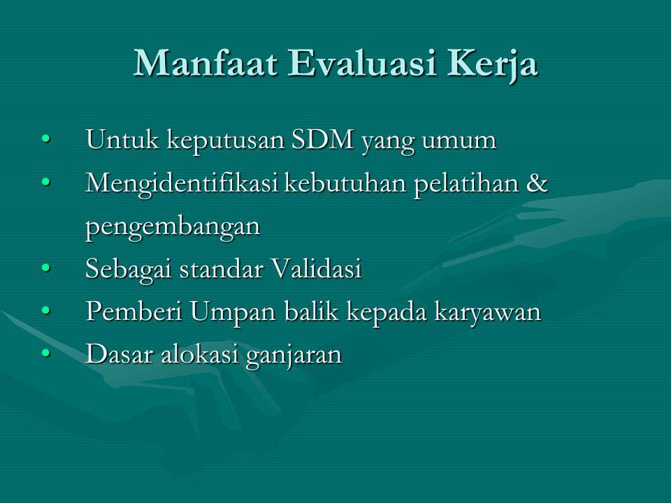 Manfaat Evaluasi Kerja Untuk keputusan SDM yang umumUntuk keputusan SDM yang umum Mengidentifikasi kebutuhan pelatihan &Mengidentifikasi kebutuhan pel