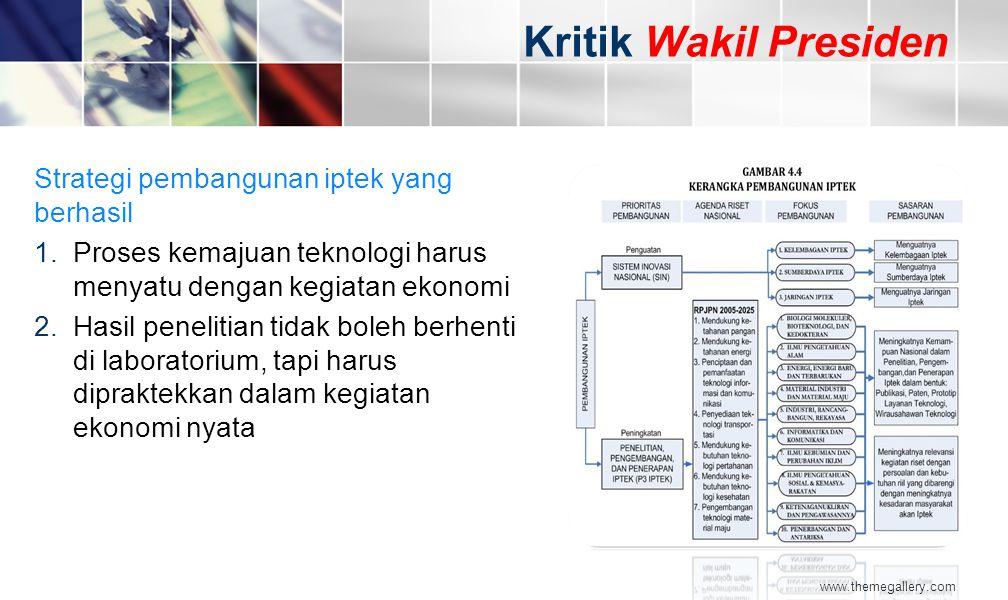 www.themegallery.com Strategi pembangunan iptek yang berhasil 1.Proses kemajuan teknologi harus menyatu dengan kegiatan ekonomi 2.Hasil penelitian tid
