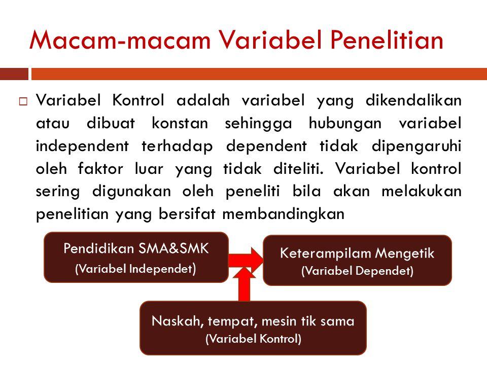 Macam-macam Variabel Penelitian  Variabel Kontrol adalah variabel yang dikendalikan atau dibuat konstan sehingga hubungan variabel independent terhad
