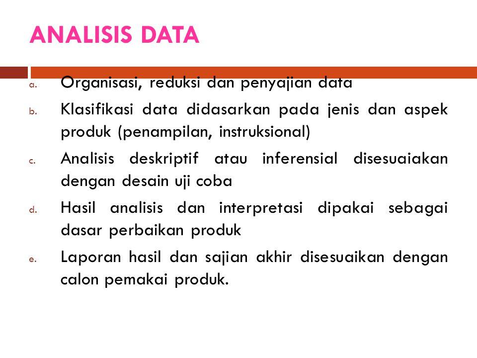 ANALISIS DATA a. Organisasi, reduksi dan penyajian data b. Klasifikasi data didasarkan pada jenis dan aspek produk (penampilan, instruksional) c. Anal