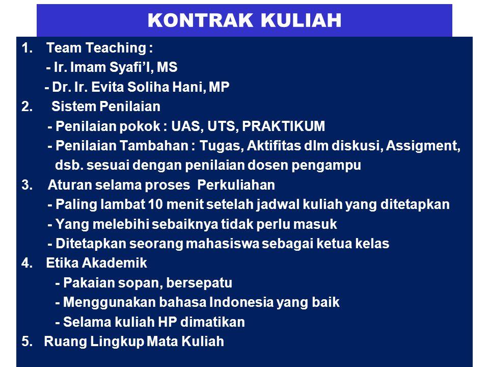 KONTRAK KULIAH 1.Team Teaching : - Ir.Imam Syafi'I, MS - Dr.