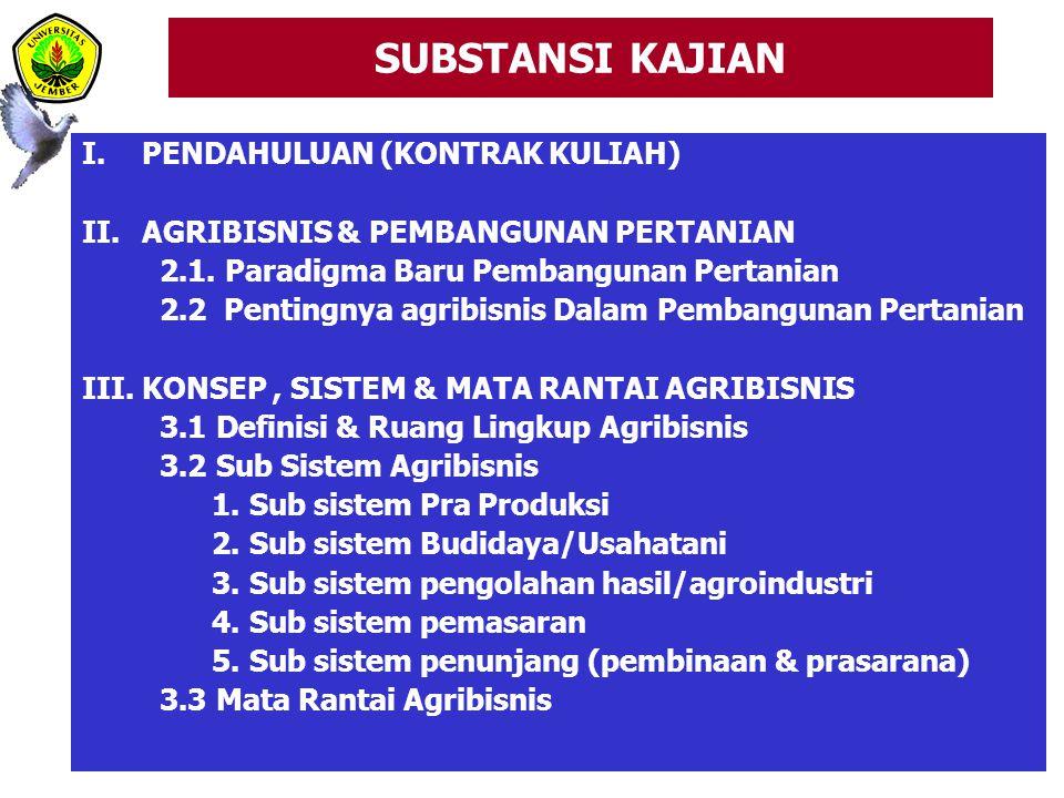 SUBSTANSI KAJIAN I.PENDAHULUAN (KONTRAK KULIAH) II.AGRIBISNIS & PEMBANGUNAN PERTANIAN 2.1.