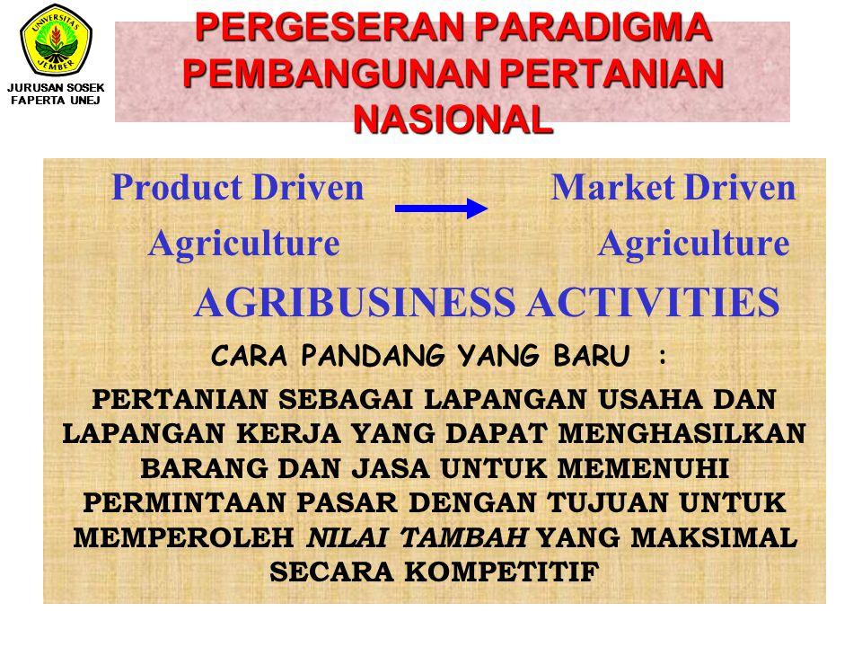PERGESERAN PARADIGMA PEMBANGUNAN PERTANIAN NASIONAL Product Driven Market Driven Agriculture Agriculture AGRIBUSINESS ACTIVITIES CARA PANDANG YANG BARU : PERTANIAN SEBAGAI LAPANGAN USAHA DAN LAPANGAN KERJA YANG DAPAT MENGHASILKAN BARANG DAN JASA UNTUK MEMENUHI PERMINTAAN PASAR DENGAN TUJUAN UNTUK MEMPEROLEH NILAI TAMBAH YANG MAKSIMAL SECARA KOMPETITIF JURUSAN SOSEK FAPERTA UNEJ