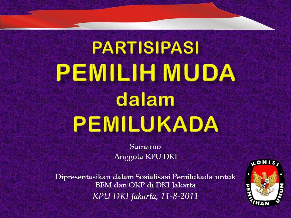 Sumarno Anggota KPU DKI Dipresentasikan dalam Sosialisasi Pemilukada untuk BEM dan OKP di DKI Jakarta KPU DKI Jakarta, 11-8-2011