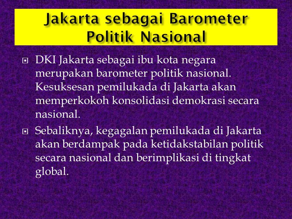  DKI Jakarta sebagai ibu kota negara merupakan barometer politik nasional. Kesuksesan pemilukada di Jakarta akan memperkokoh konsolidasi demokrasi se