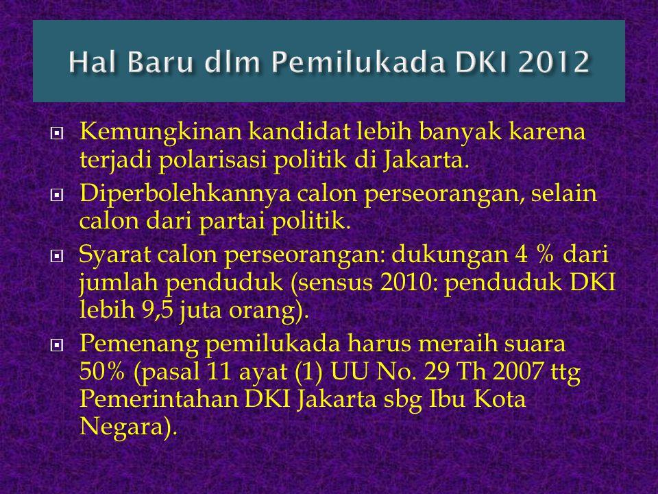  Kemungkinan kandidat lebih banyak karena terjadi polarisasi politik di Jakarta.  Diperbolehkannya calon perseorangan, selain calon dari partai poli