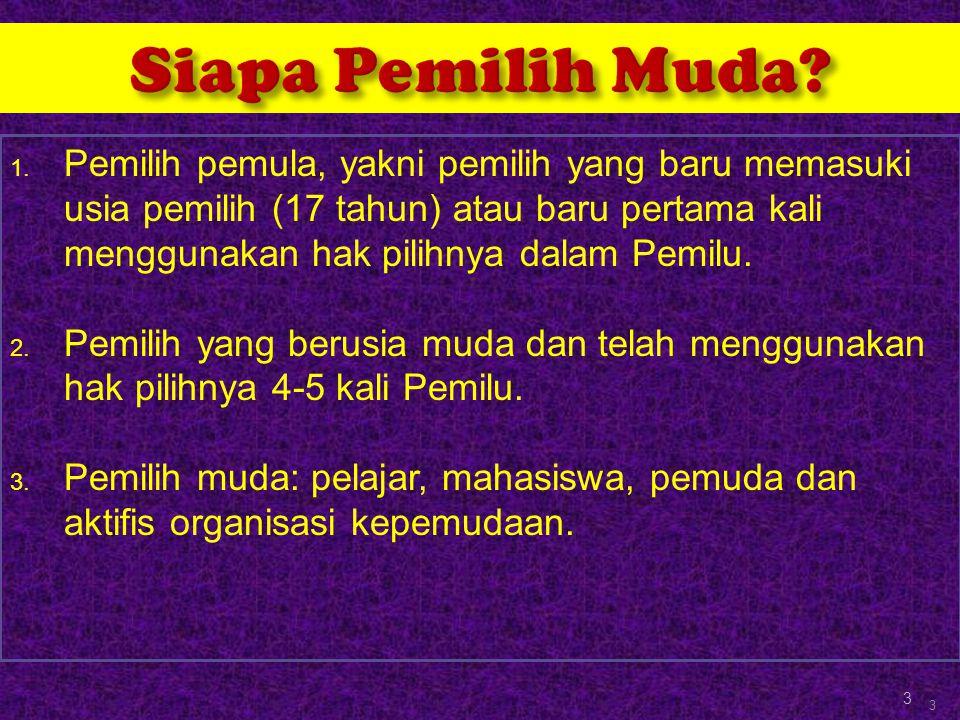  Jumlah pemilih pemula cukup signifikan, lebih dari 20 % pemilih di Indonesia.