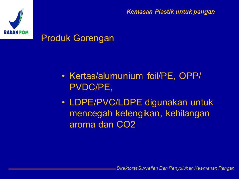 Direktorat Surveilan Dan Penyuluhan Keamanan Pangan Produk Gorengan Kertas/alumunium foil/PE, OPP/ PVDC/PE, LDPE/PVC/LDPE digunakan untuk mencegah ket