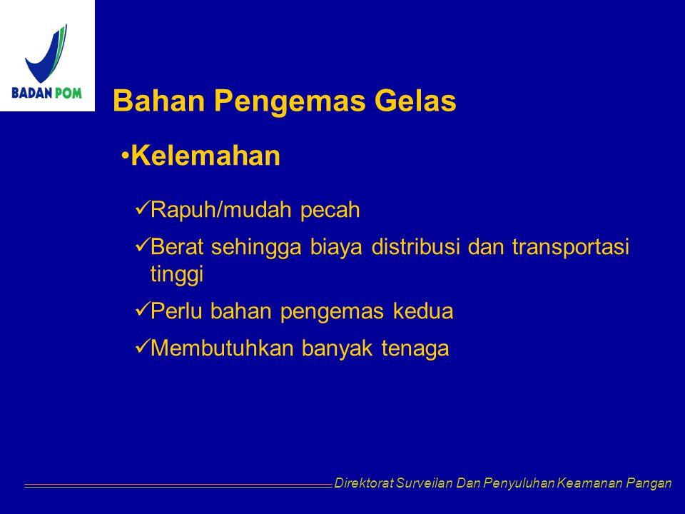 Direktorat Surveilan Dan Penyuluhan Keamanan Pangan Bahan Pengemas Gelas Kelemahan Rapuh/mudah pecah Berat sehingga biaya distribusi dan transportasi