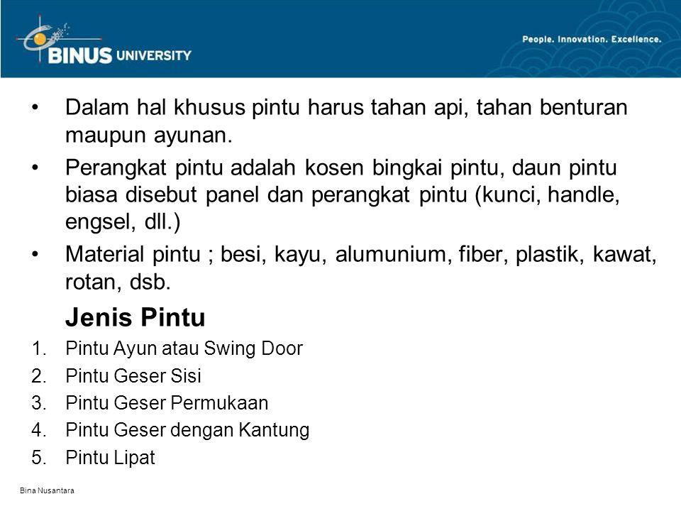 Bina Nusantara Dalam hal khusus pintu harus tahan api, tahan benturan maupun ayunan. Perangkat pintu adalah kosen bingkai pintu, daun pintu biasa dise