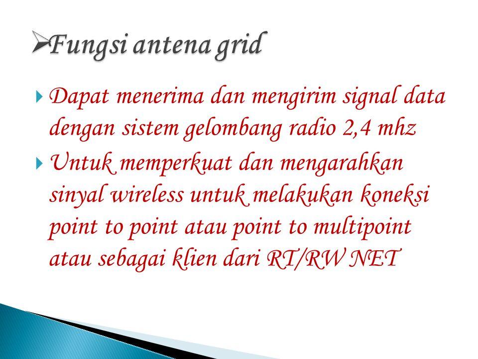  Dapat menerima dan mengirim signal data dengan sistem gelombang radio 2,4 mhz  Untuk memperkuat dan mengarahkan sinyal wireless untuk melakukan koneksi point to point atau point to multipoint atau sebagai klien dari RT/RW NET