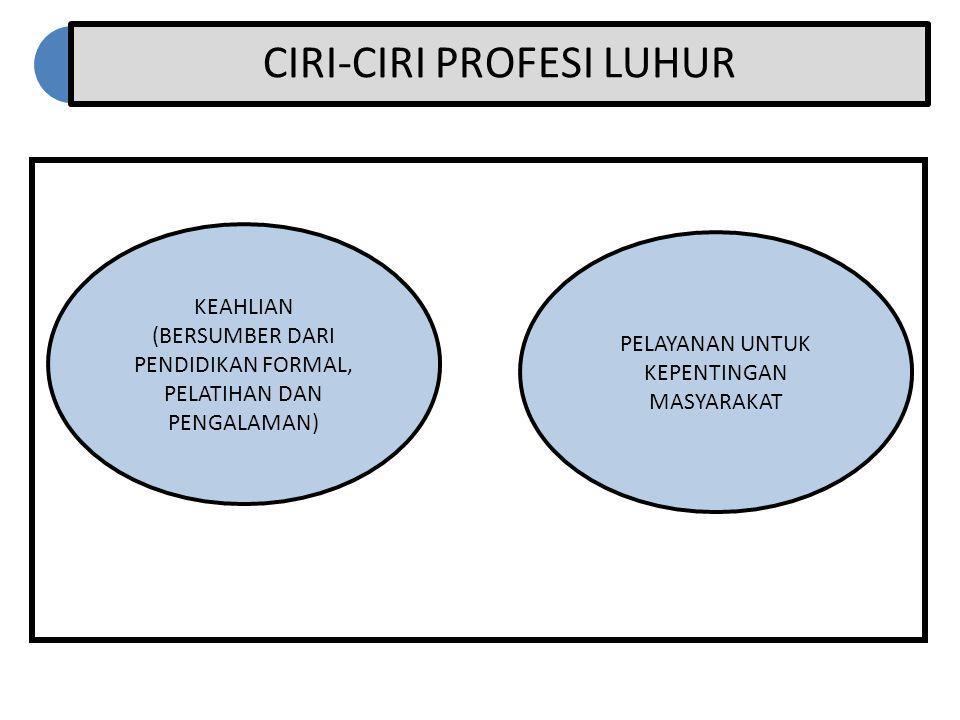 CIRI-CIRI PROFESI LUHUR KEAHLIAN (BERSUMBER DARI PENDIDIKAN FORMAL, PELATIHAN DAN PENGALAMAN) PELAYANAN UNTUK KEPENTINGAN MASYARAKAT